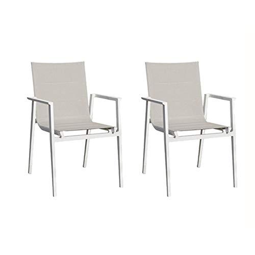 Meubletmoi - Juego de 2 sillas de jardín de aluminio blanco y tejido textileno gris – WAHI