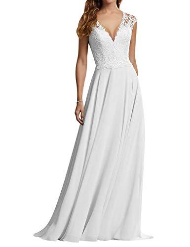 HUINI Brautkleider Lang Prinzessin Hochzeitskleider Standesamt Strand Brautmode Spitzen Umstand Brautkleid Weiß MaßAnfertigung