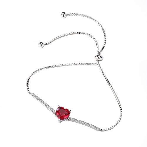 L.J.J 925 Sterling Silber verstellbares rotes Liebes-Armband glänzender Schmuck mit Geschenkbox