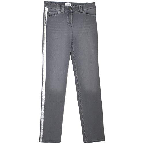 Gerry Weber, Roxy, Damen Damen Jeans Hose Stretchdenim Grey Silverstripe D 36R Inch 28 L 32 [21612]