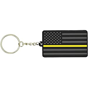 American Flag Keychain with Key Ring - Emergency Dispatcher/Tow Truck Driver/Security Guard - Soft PVC Rubber - Keys, Cars, Motorcycles, Backpacks, Luggage, and Gifts - EDC (Thin Gold/Yellow Line)