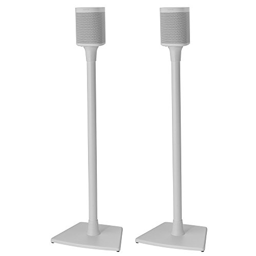Sanus Wireless Sonos Speaker Stand for Sonos One, PLAY:1, & PLAY:3 - Audio-Enhancing Design With Built-In Cable Management - Pair (White) - WSS22-W1