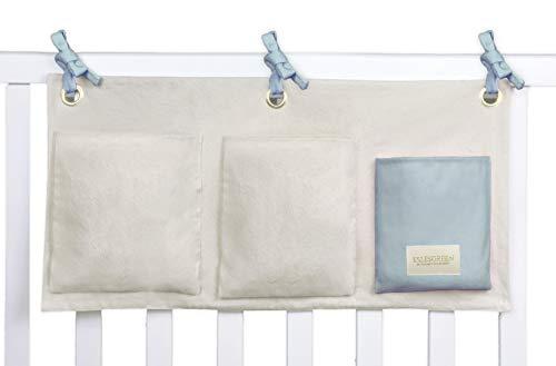 ESLESGREEN Organizador de cuna bebé colgante de algodón orgánico (BLUE)