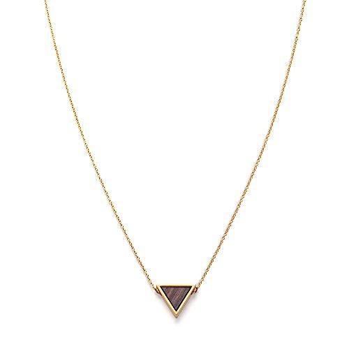 KERBHOLZ Holzschmuck – Geometrics Collection Triangle Necklace Damen Halskette mit Anhänger aus Naturholz, gold, größenverstellbar (Kettelänge 38 + 5 cm)