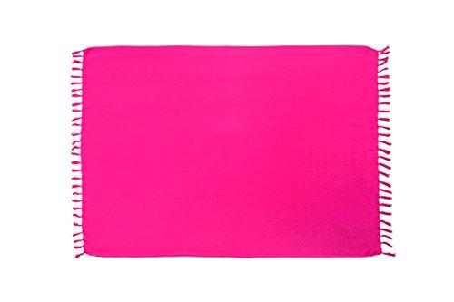 MANUMAR Damen Pareo blickdicht, Sarong Strandtuch in pink mit Schnalle, einfarbig, Sommer Handtuch 155x115cm, Hippie Sommer Kleid Sauna Hamam Lunghi Bikini Coverup Strandkleid