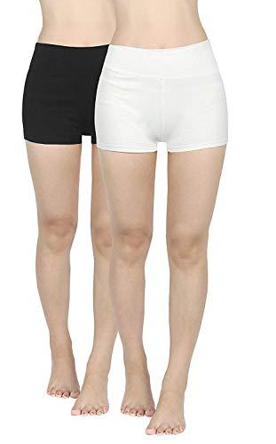 4How 2er Pack Sport Shorts Damen kurz eng Tights Radlerhose Baumwolle Sporthose Fitness Yoga Cycling Shorts Hotpants Blickdicht Schwarz+Weiß M