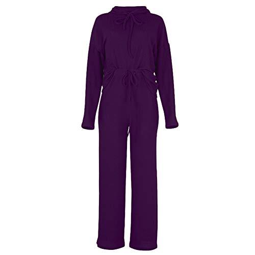 Conjunto de Chándal de Punto para Mujer, Conjuntos de Jersey de Manga Larga con Capucha + Pantalones Anchos con Cordón, Ropa de Casa Dormir Casual 2 Piezas, Suave y Cómodo Púrpura L
