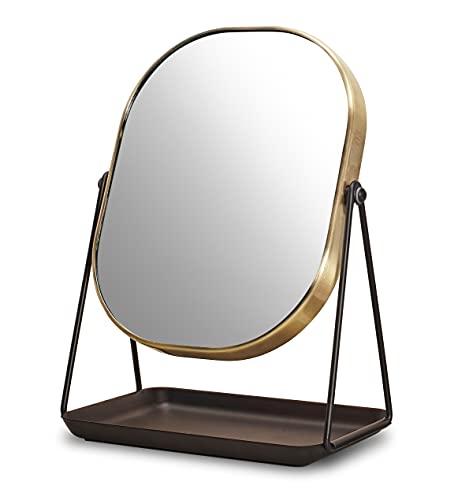 Supremery Espejo cosmético con almacenamiento para joyas – Espejo para maquillaje y peinado – Espejo de pie con almacenamiento