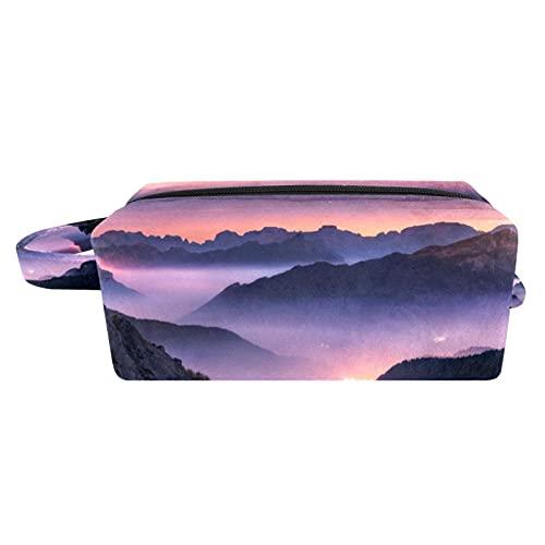 Oil Painitng - Bolsa de cosméticos con asa, bolsa de viaje cuadrada para artículos de tocador, estuche pequeño con cremallera para señoras y niñas, organizador de accesorios