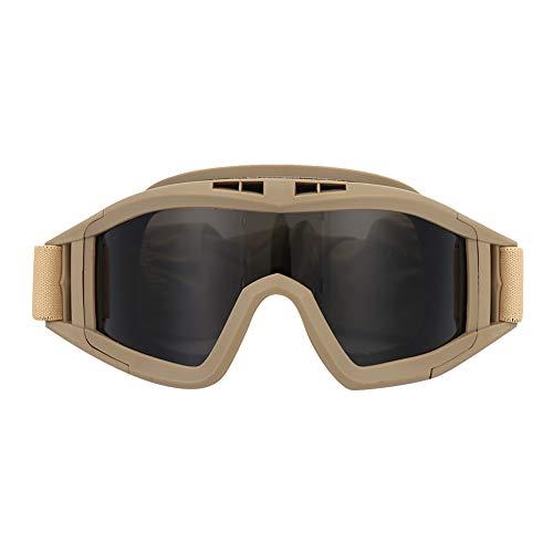 SANON Motorradbrille Taktische Schutzbrille Airsoftbrille mit 2 Austauschbaren Mehrfachlinsen zum Schießen/Paintball/Wandern/Skifahren/Reiten (Khaki)
