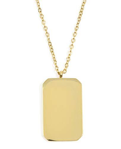 Happiness Boutique Collana Pendente Rettangolare in Color Oro | Collana Lunga Bijoux Acciaio Inossidabile