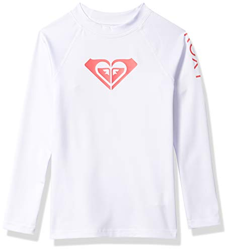 Roxy Girls' Little Whole Hearted Long Sleeve Rashguard, Bright White 2020, 4