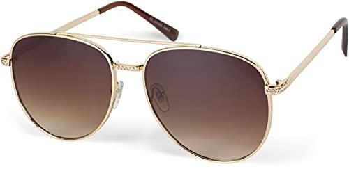 styleBREAKER Gafas de sol de estilo aviador con aplicaciones de estrás, lentes tintadas de policarbonato y montura de metal 09020119, Estructura dorada y cristal marrón degradado, Einheitsgröße