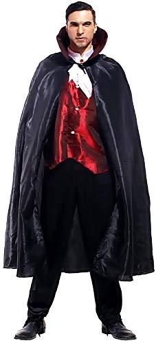 KIRALOVE Disfraz de Vampiro - drácula - Disfraces - Halloween - Carnaval - crepúsculo - Color Negro - Adultos - Hombre - niño - Talla única - Idea de Regalo Original Twilight