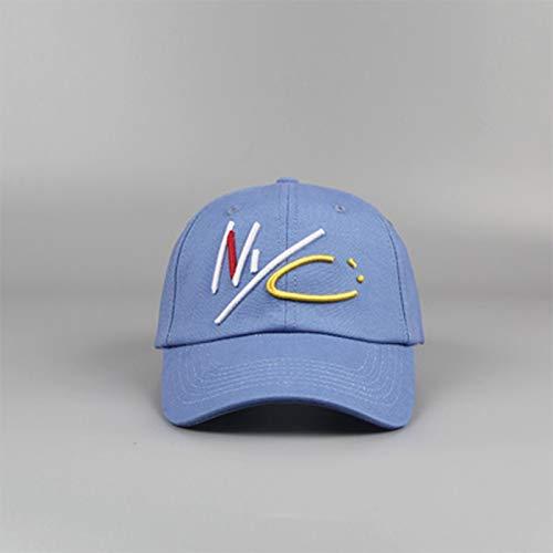 Brief NYC Kleurrijke Hip Hop Caps Mannen Vrouwen Cotton Streetwear Rapper Papa van Cool College Young Style baseballcap botten (Color : Lake blue, Size : 56 60cm)