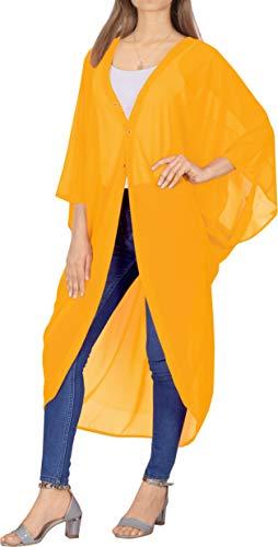 LA LEELA Copricostume Mare Cardigan Donna Taglie Forti- Vintage Chiffon Estivo Scialle Elegante Solido Kimono Vestito Corto Estate Boho Tunica Etnica Abito da Spiaggia Giallo_O972