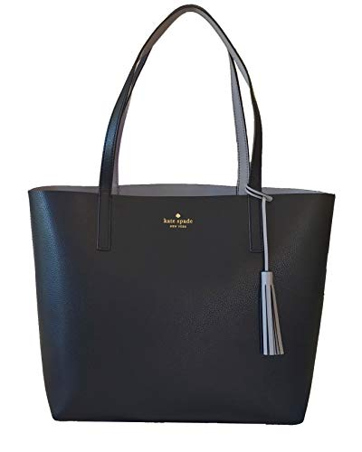 Kate Spade Marina Lakeland Drive Reversible Leather Tote Bag in Black/Gray