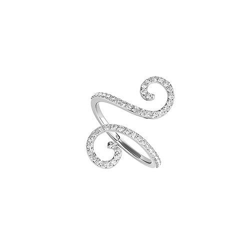 Designer Inspired 925 Silver Trendy CZ Open End Ring