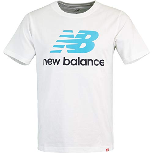New Balance Essential Stacked Logo Camiseta Blanco/azul L