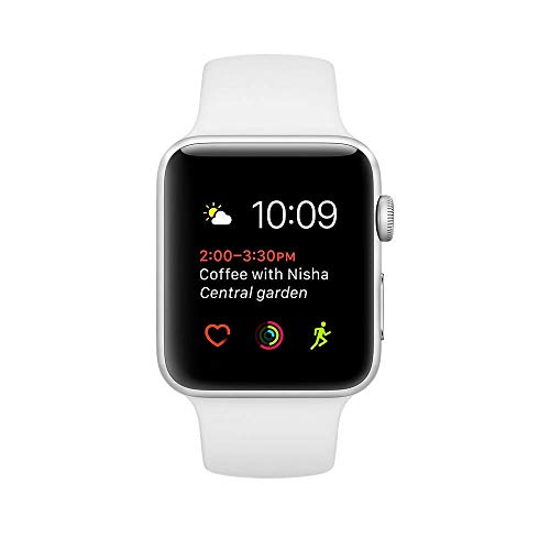 Capa de alumínio prata para Apple Watch Series 2 38 mm com pulseira branca esportiva - MNNW2LL/A (recondicionada), 38 mm, GPS Silver Aluminum Case White Sport Band