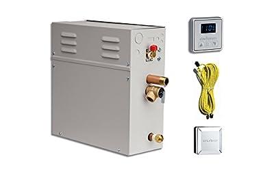 EliteSteam 7.5 KiloWatt Luxury Home Steam Shower System (Steam Shower Generator, Control, Steam Head, and Cable) (Brushed Nickel Inside Control)