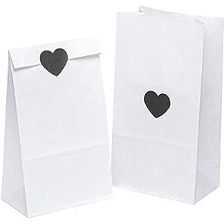 ABO-50er-Pack-weie-Papiertten-mit-50-Aufklebern-Papiertten-fr-Lebensmittel-14-x-26-x-8-cm-Papiertte