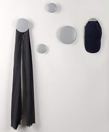 JIYUERLTD Wandhaken Kleiderhaken 5 Stück Runde Garderobenhaken Türhänger Haken für Wand, Wohnzimmer, Badezimmer, Innenraum Dekor.(Grau)