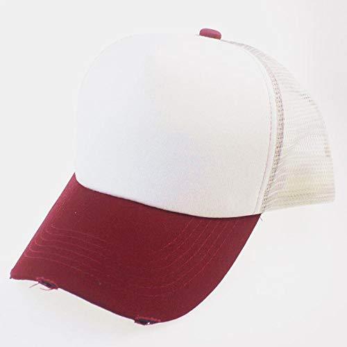 DLSM Gorras de Malla deshilachadas y rotas, Estudiantes Masculinos y Femeninos, Gorra de béisbol de Sombra Salvaje-Vino Rojo
