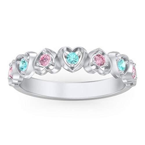 Personaliza 7 anillos de piedra natal Grabado 1 anillo de nombre Anillo de compromiso con múltiples formas de corazón para mujer(Plata 16.5)