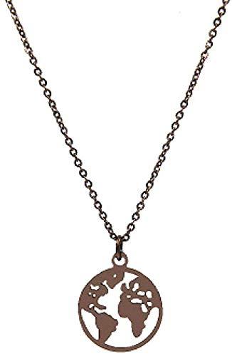 BACKZY MXJP Halskette Schmuck Frauen Edelstahl Herz Globus Weltkarte Anhänger Halsketten Outdoor-Reisen Erde Halsketten Farbe Kaffee