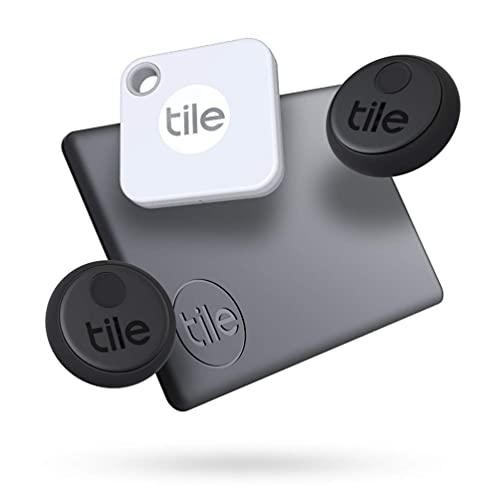 Tile Essentials (2020) 4-pack (1 Mate, 1 Slim, 2 Stickers) - Bluetooth Tracker & Item Locators for...