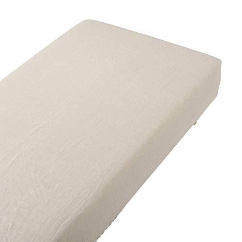 無印良品 麻平織ボックスシーツ・S/生成 100×200×18~28cm用 02041250