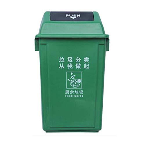 B-fengliu Cubo de Basura Grande de Basura Industrial Puede 20L, 40L, 60L de Basura al Aire Libre Pueden Cubierto Papelera de Reciclaje Cocina Hogar Aula Papelera de Reciclaje Cubo de Basura