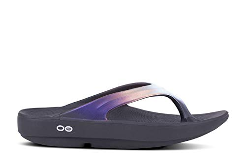 OOFOS Women's OOlala Luxe Recovery Sandal - Color: Black/Purple - Size: 7 - Width: Regular