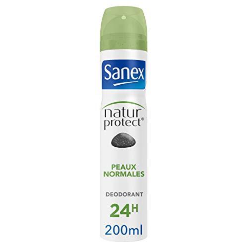 SANEX - Spray Déodorant Natur Protect Peaux Normales - Déodorant pour Homme et Femme à la Pierre d'Alun - Efficacité 48 h - Sans Alcool, Sans Colorants - 200 ml