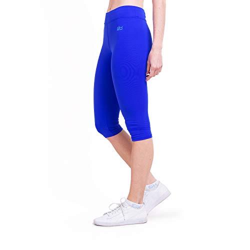 Sportkind Mädchen & Damen Fitness, Yoga, Sport 3/4 Capri Leggings, Mid Waist, blickdicht, atmungsaktiv, kobaltblau, Gr. XL