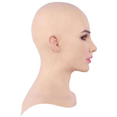 Fem.Cyomi Europäische Kopfmaske, realistisches Silikon-Gesicht, handgefertigt, für Crossdresser, Transgender, Drag, Queen, Halloween-Kostüme, 3 Gen. Gr. Medium, hautfarben