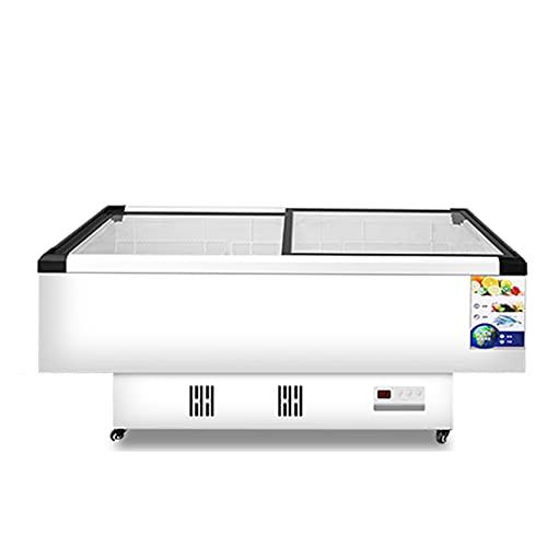 HXXXIN Congelador Congelador Comercial Refrigerador Vitrina Refrigerada Mantenimiento Fresco Y Congelación Vidrio Transparente De Doble Propósito Horizontal