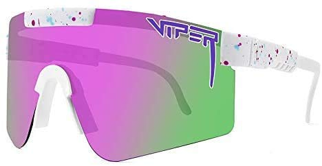 Pit Viper - Gafas de sol polarizadas de doble ancho con lente azul espejo Tr90 marco UV400 protección