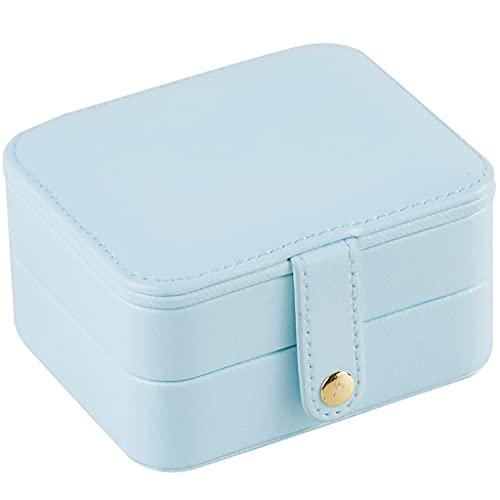 WQXD Caja de joyería Cuadrada Caja de joyería portátil Delicada para Pendientes Anillos de cumpleaños Regalos de cumpleaños Mujeres Joyería Organizador (Color : Light Blue, tamaño : 4.3x3.5x2.3 Inch)