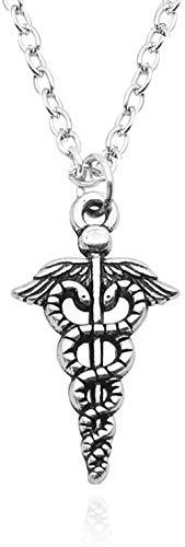 NC110 DIY Hecho a Mano Doble alas de Serpiente Collares Colgantes Vintage Logo Gargantilla Collar Unisex declaración Collares YUAHJIGE