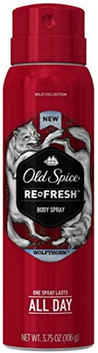 Old Spice Wild Collection Re-Fresh Deodorant Body Spray, Wolfthorn 3.75 oz (Pack of 10)