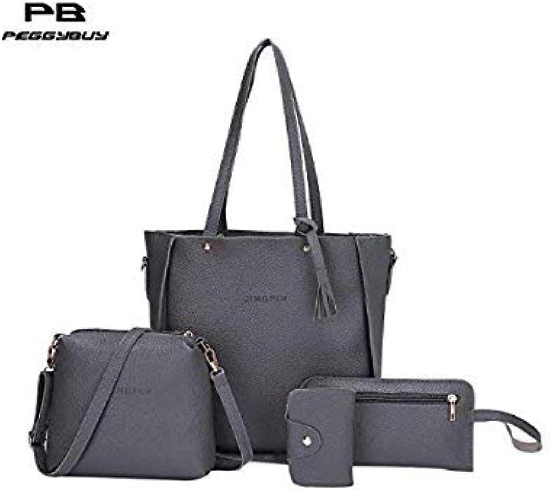 Bloomerang 4pcs Set Women Messenger Bag Leather Crossbody Bag Composite Female Handbags Tassels Shoulder Bags Mini Clutch Tote Bolsos women color 08