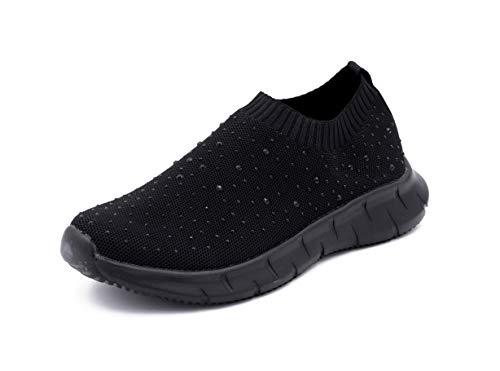 Zapatillas Deportivas para Mujer, Tipo Calcetín, Transpirables, con Brillantes (Negro, Numeric_36)