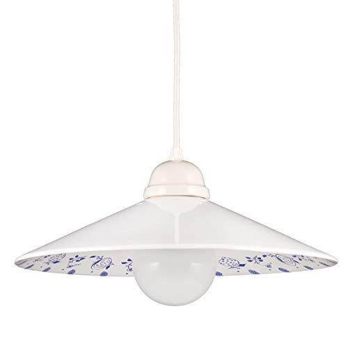 Helios Leuchten 277113 moderne Keramiklampe Hängeleuchte weiß - blau | Pendellampe Pendelleuchte aus Keramik | handbemalte Keramikleuchte | Küchenlampe 1 x E27