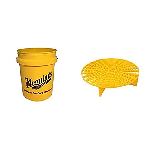 Meguiar's Yellow Large Car Wash Bucket and Professional Grit Guard