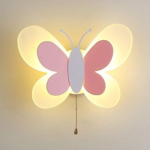 HMAKGG 14W LED Lámpara de Pared Infantil de Luz, Moderno Mariposa Luz Nocturna con Interruptor,Infantiles Decoración Apliques de Pared para Niños,Dormitorio,Pasillo,Metal,Acrílico,Blanco Cálido,Rosado