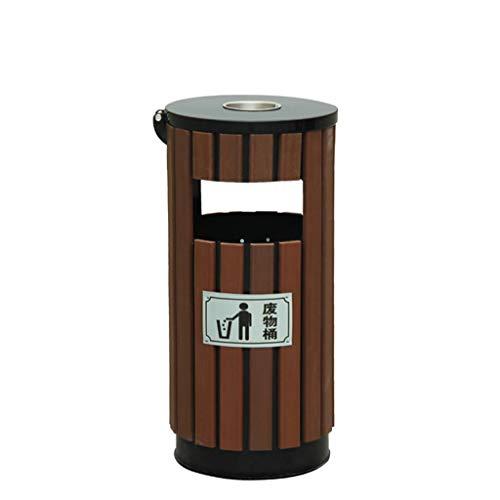 DORA Papelera Cubo de Basura Redondo de Metal de Basura de 12 litros al Aire Libre, cenicero de Acero Inoxidable con Caja Interior de Hierro Cesta de residuos Desmontable de Madera Cubo de Basura