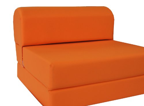 "D&D Futon Furniture Orange Sleeper Chair Folding Foam Bed Sized 6 X 32 X 70, Studio Guest Foldable Chair Beds, Foam Sofa, Couch, High Density Foam 1.8 lbs - Color: Orange. This folding chair foam bed meets Federal Mattress Flammability Standard 16 C.F.R. Part 1633 requirement by Law. Bed Dimensions when folding out: 6"" Thick x 32"" Wide x 70"" Long. Chair Dimensions when folding up: 23"" High at the back-rest x 12"" high at the sitting position x 32"" wide x 30"" deep. - sofas-couches, living-room-furniture, living-room - 31Ek53veTHL -"