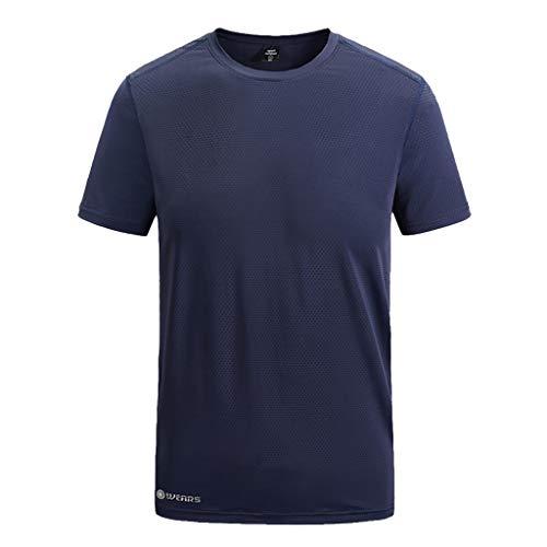 Yowablo Herren T-Shirts mit O-Ausschnitt Sommer Casual Outdoor T-Shirt Plus Size Sport Fast-Dry Atmungsaktive Tops (8XL,Marine)